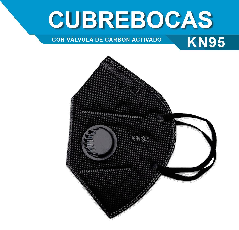 CUBREBOCAS KN95 NEGRO CON VALVULA